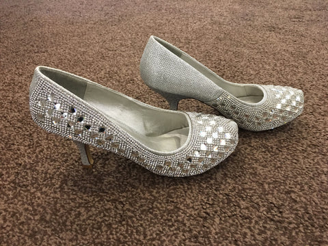 Truffle Collection silver sparkle shoes