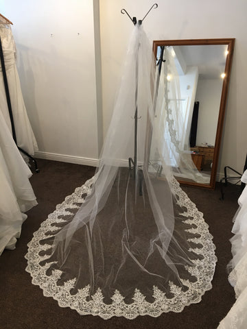 Ivory cathedral length veil with lace and sequin trim
