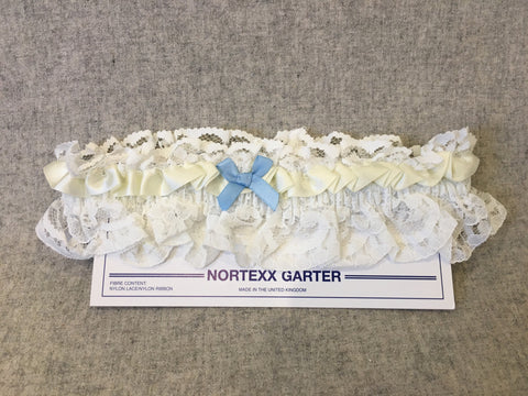 Nortexx ivory garter with blue bow