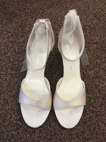Pure & Precious white bridal shoes with diamanté and ribbon ankle straps