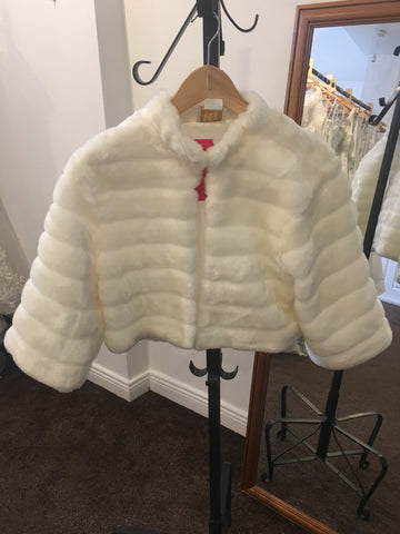 Emmerling ivory faux fur shrug