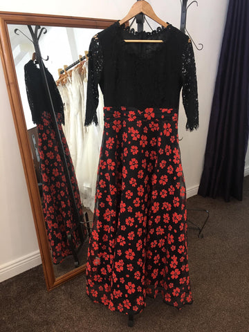 Full length dress with lace bodice and floral skirt