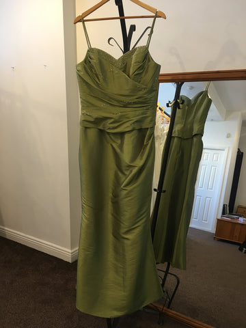 Rea green dress with beaded embellishments and fish tail