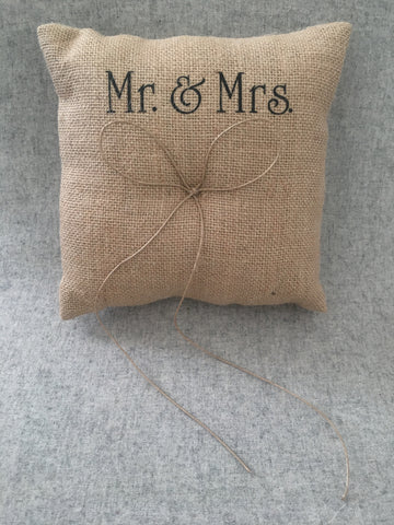 Mr & Mrs hessian ring cushion
