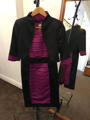 Luis Civit purple and black dress and jacket suit