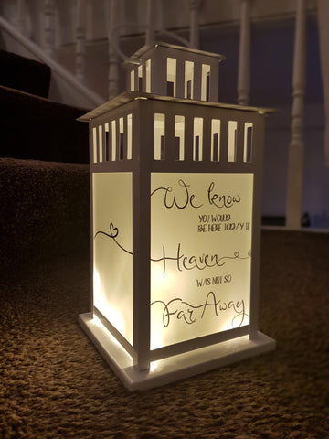 Personalised lantern with fairy lights