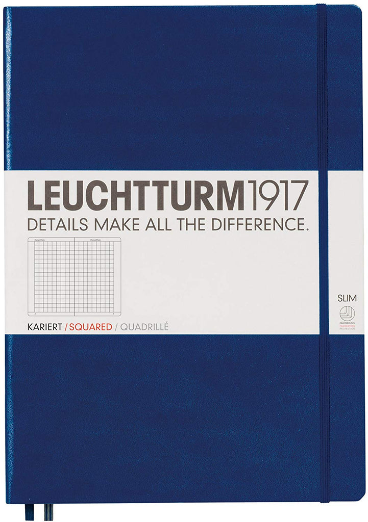 LEUCHTTURM 1917 SQUARED Notebook Slim A4 - NAVY
