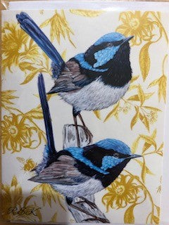 Two Blue Wrens Card