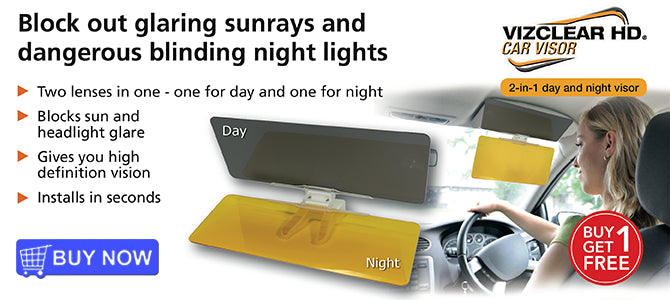 VizClear HD Car Visor - 2-in-1 day and night visor