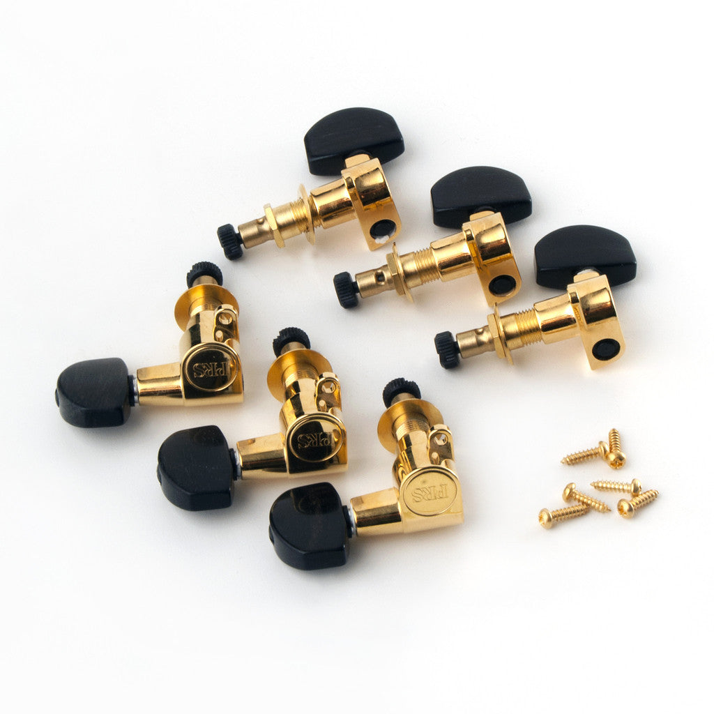 Phase II Gold Locking Tuners, Ebony Button (Set of 6)