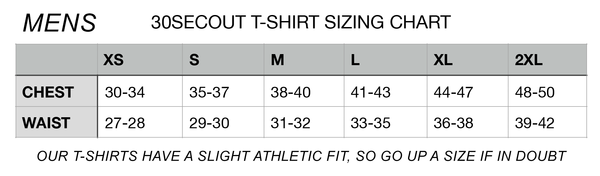 Mens T-Shirt Sizing Chart