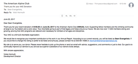 As promised, we donated $100 to The American Alpine Club