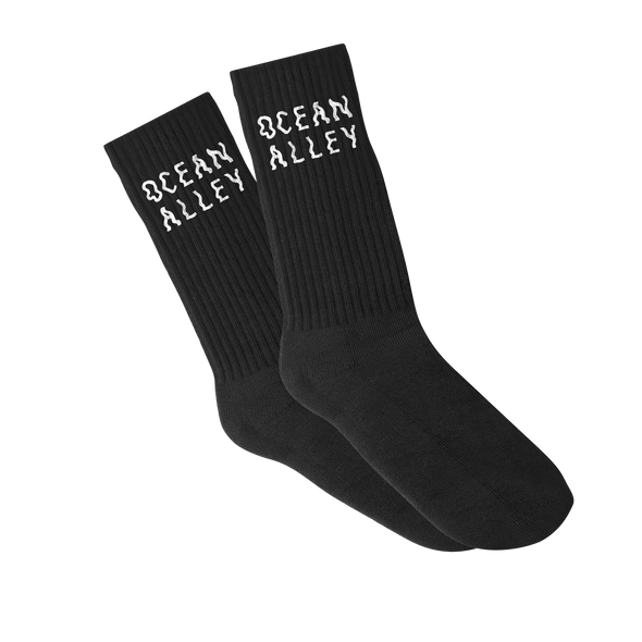 Ocean Alley merch Logo Socks (Black w/White Text) + Digital Download