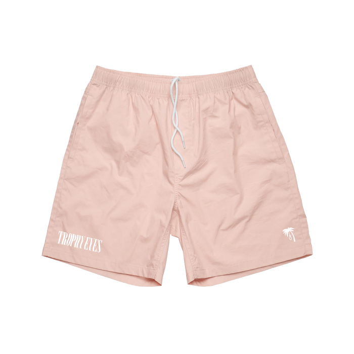 Palm Embroidered Beach Shorts (Pink)