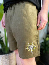Embroidered 100% Hemp Shorts (Khaki)