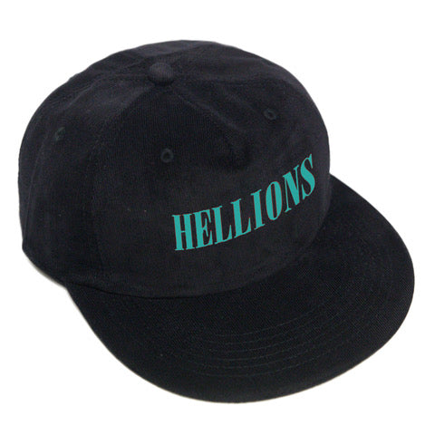 Embroidered Corduroy Hat (Teal on Black)
