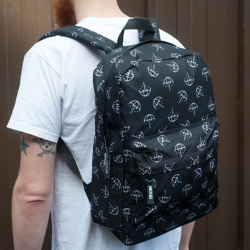 Bring Me the Horizon Umbrella Print Backpack (Black/White)
