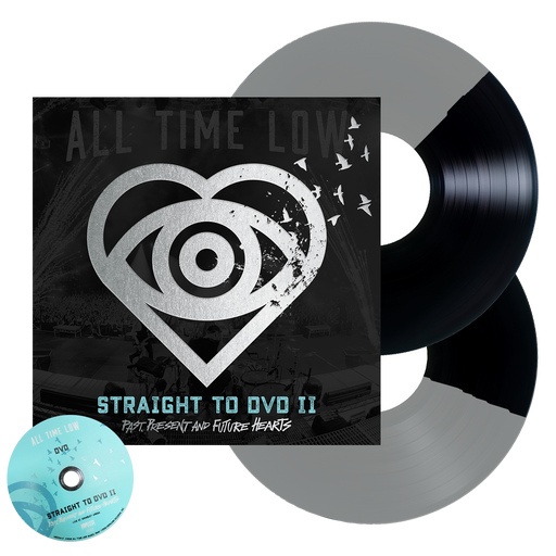 All Time Low Official Merch - Straight To DVD II: Past, Present and Future Hearts 2LP + DVD (Black + Silver Half Half)