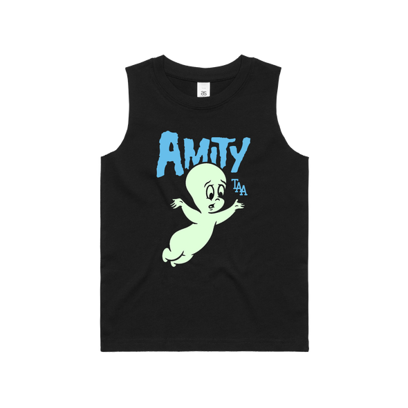 Friendly Ghost Kids Singlet (Black with Glow In The Dark Print)