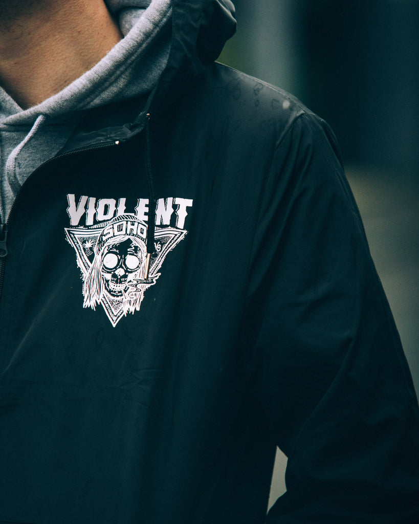 Blazin Skull Windbreaker (Black)