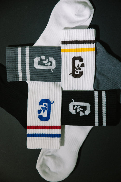Cold World Supply Co. merch CW Tube Socks (White w/ Brown and Yellow)