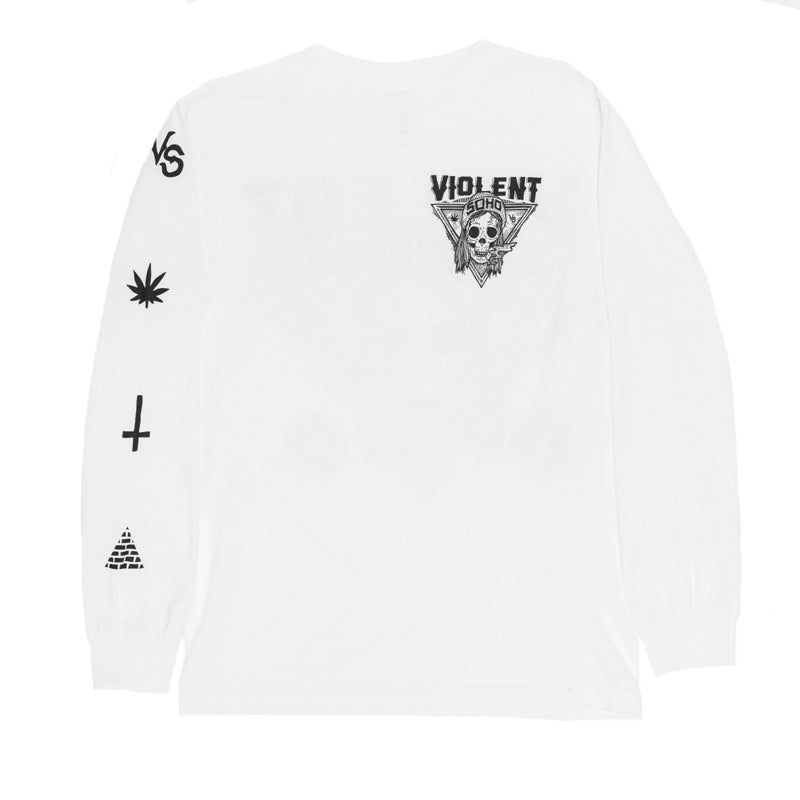 Blazin' Skull Long Sleeve (White) (406188211)
