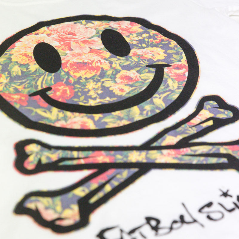 Fatboy Slim official merch Floral Smiley Tee (White)