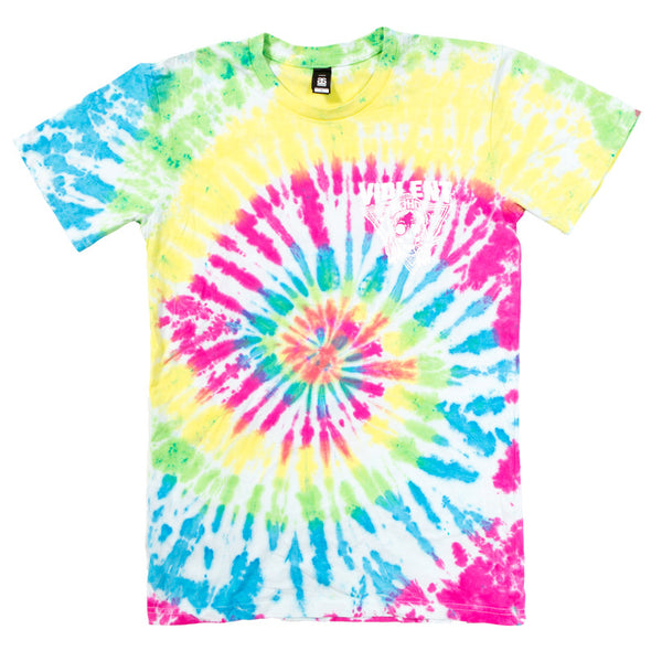 Violent Soho merch Blazin' Skull Tee - Rainbow Tie Dye