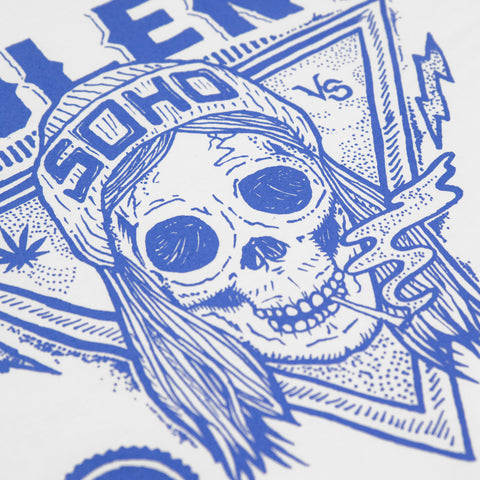 Blazin' Skull (Blue on White Longsleeve)
