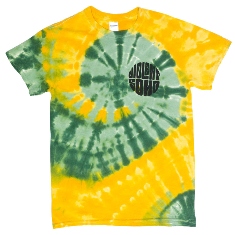 Violent Soho Hippie Circle Tee Green Gold Tie Dye 24hundred
