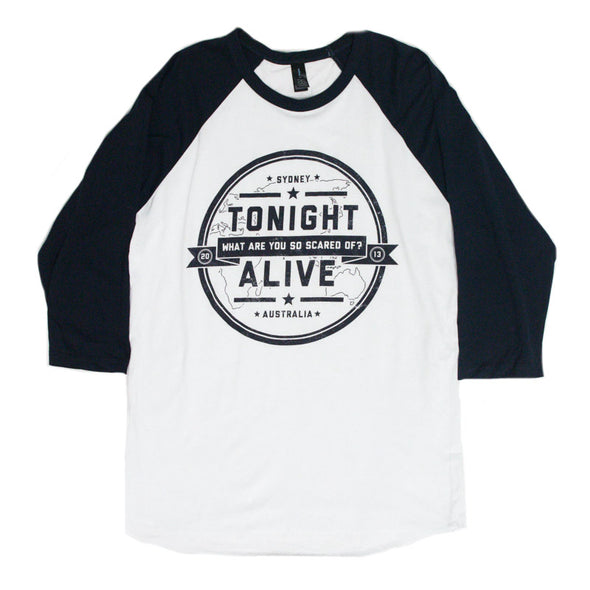 What Are You So Scared Of Baseball Tee (White/Navy)