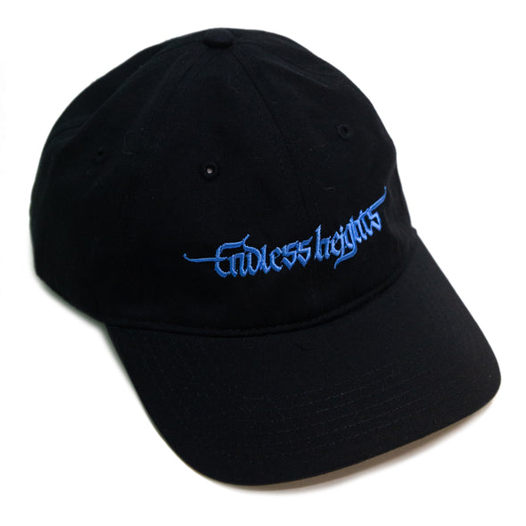Cursive Embroidered Cap (Blue on Black)