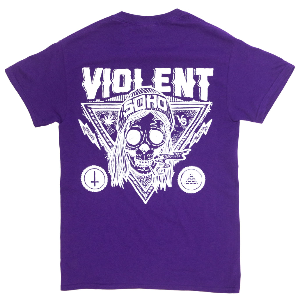 Blazin Skull Tee (White on Purple)