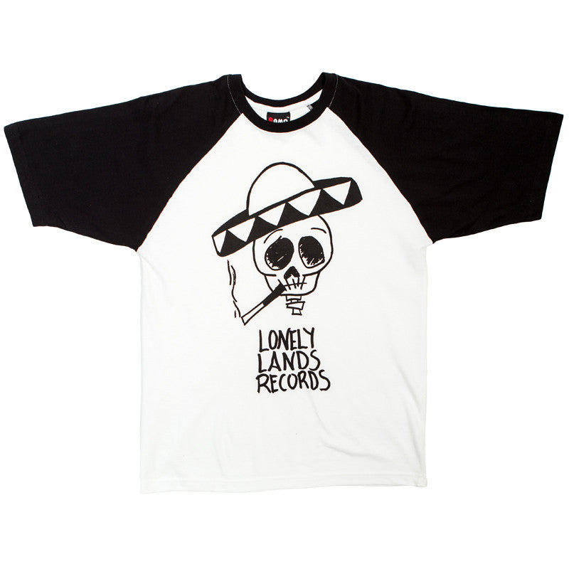 Lonely Lands Records Raglan (White/Black)
