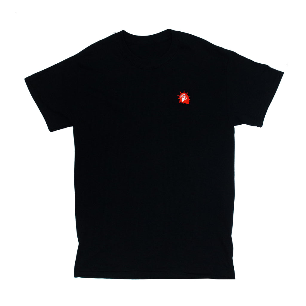 Liberty Head Embroidered Tee (Red on Black)