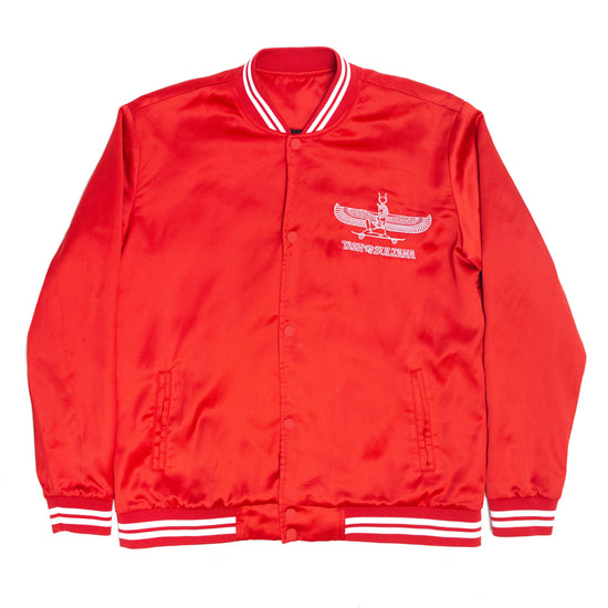 Goddess embroidered Varsity Jacket (Red) // PREORDER