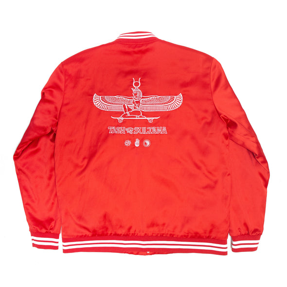 Goddess embroidered Varsity Jacket (Red)
