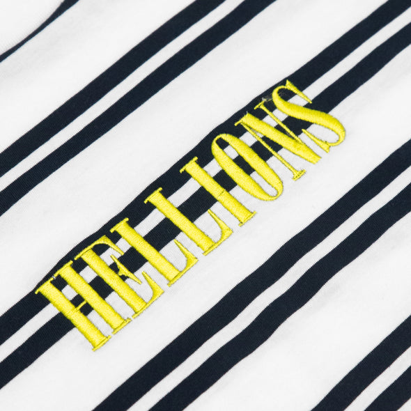 Stripe Embroidered Tee (Yellow on White & Black)