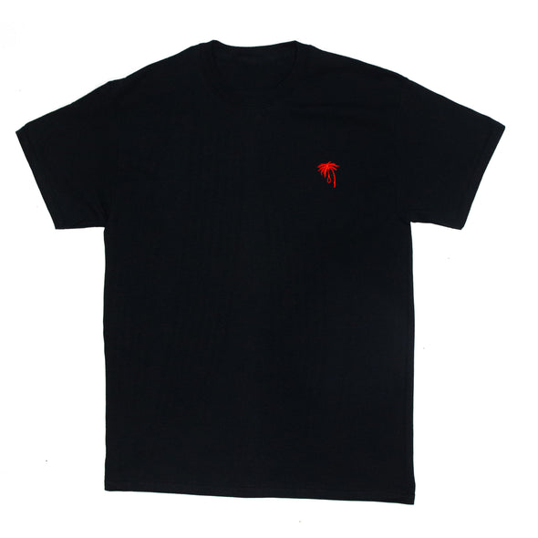 Palm Embroidered Tee (Red on Black)