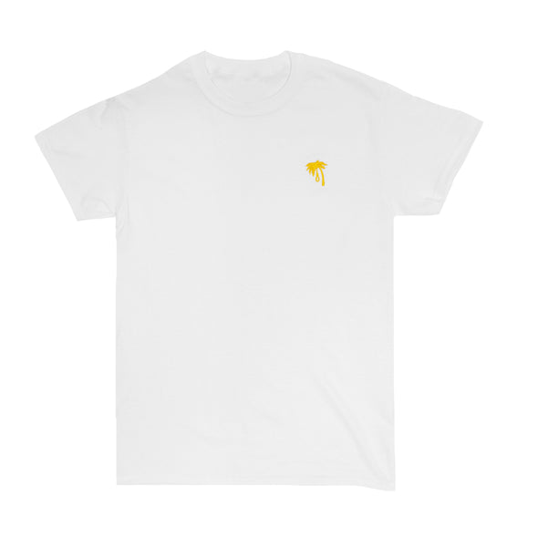 Palm Embroidered Tee (Yellow on White)