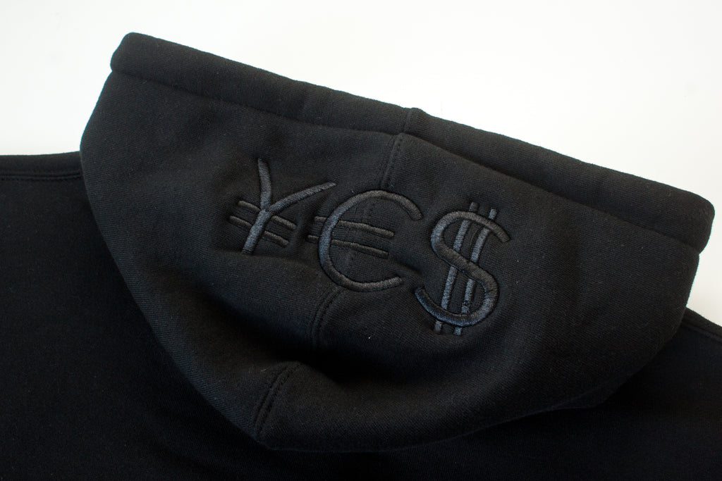 ¥€$ Embroidered Hoodie (Black)