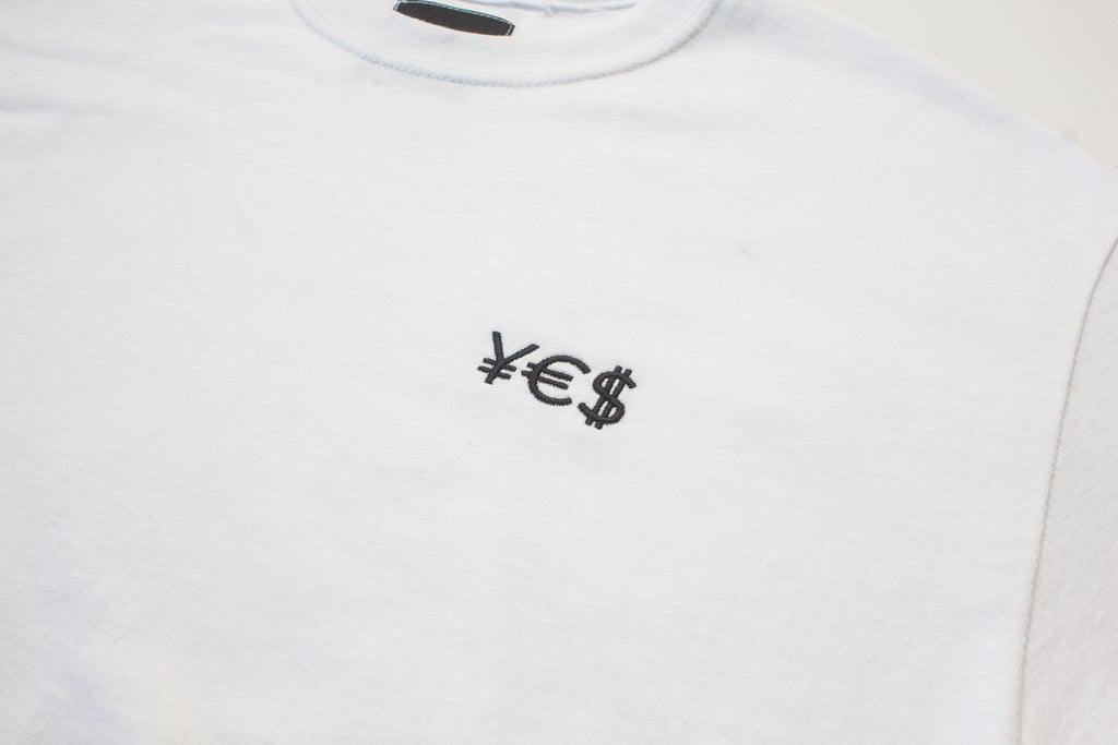 ¥€$ Embroidered Tee (White)
