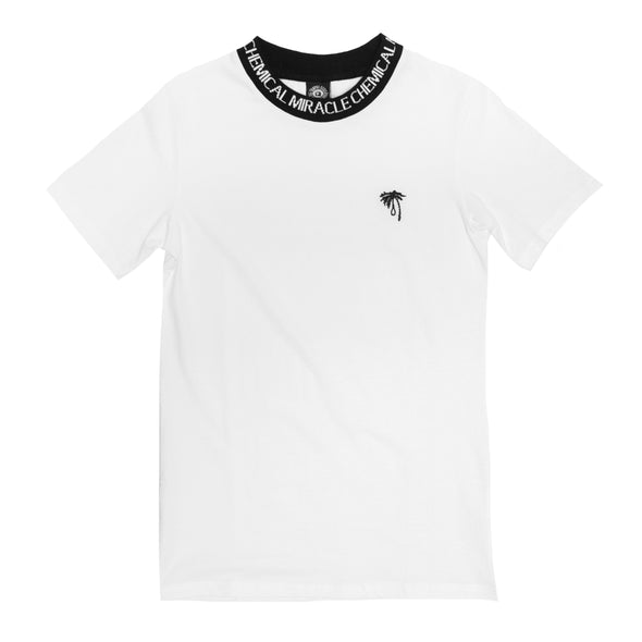 Palm Embroidered Collar Tee (White)