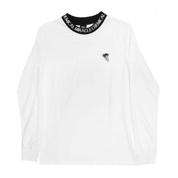 Palm Embroidered Collar Long Sleeve (White)
