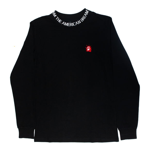 Liberty Head Embroidered Collar Long Sleeve (Black)