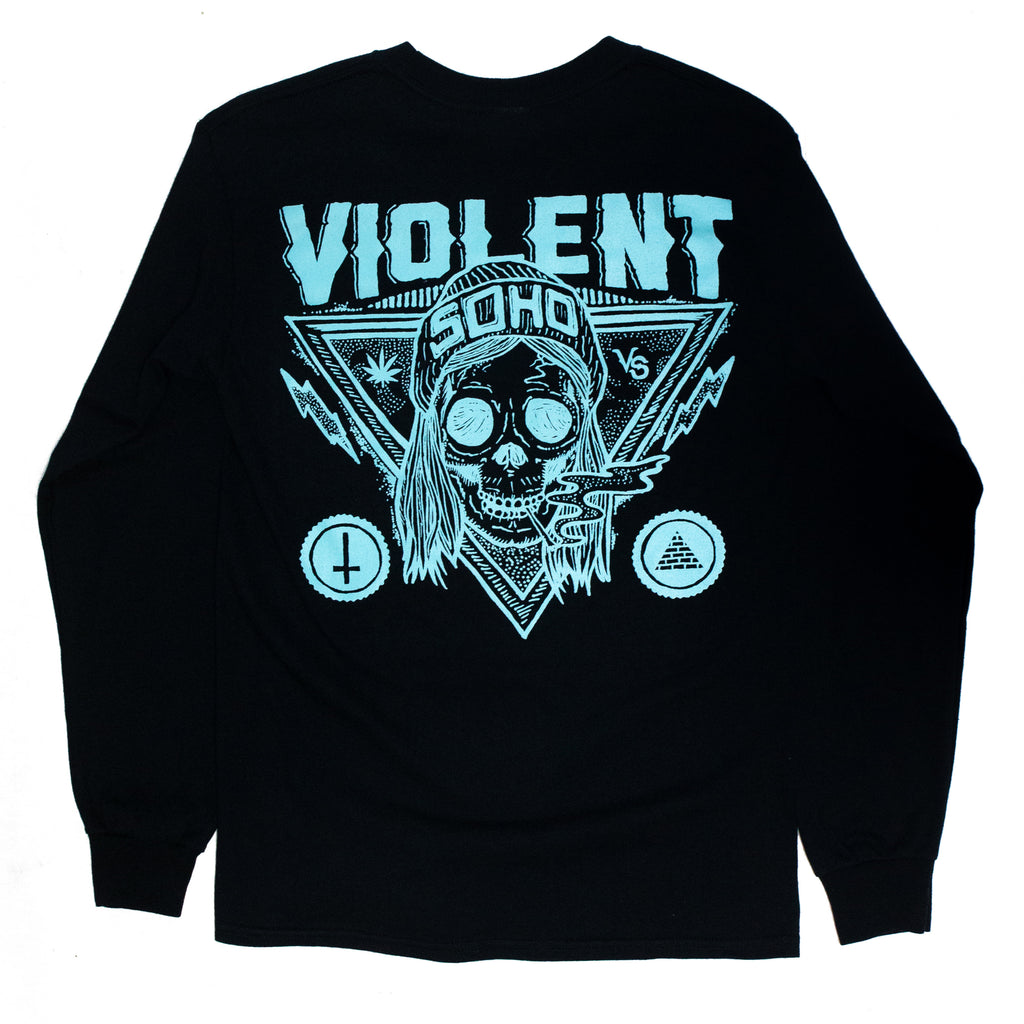 Blazin' Skull Longsleeve (Aqua on Black)