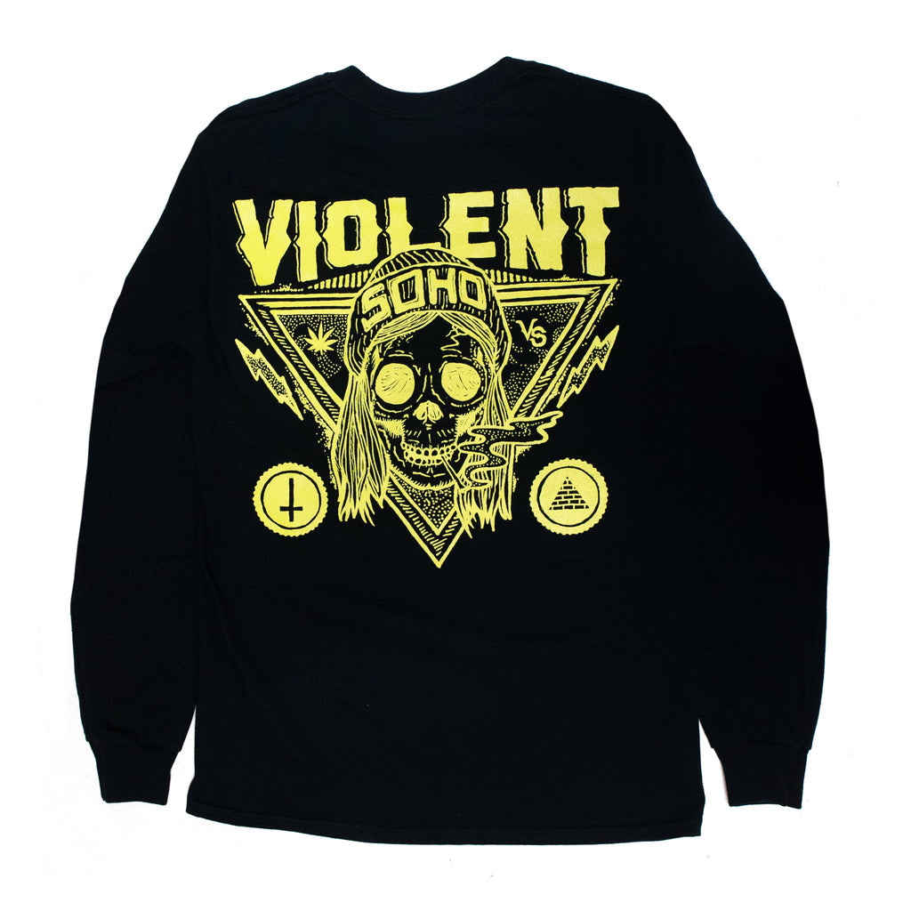Blazin' Skull Longsleeve (Yellow on Black)