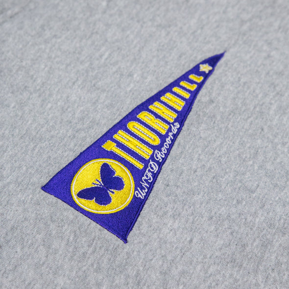 Embroidered Flag Hoodie (Grey)