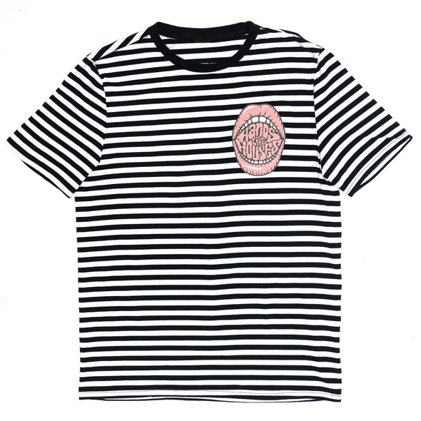 Bubblegum Lips Stripe Tee (Black/White)