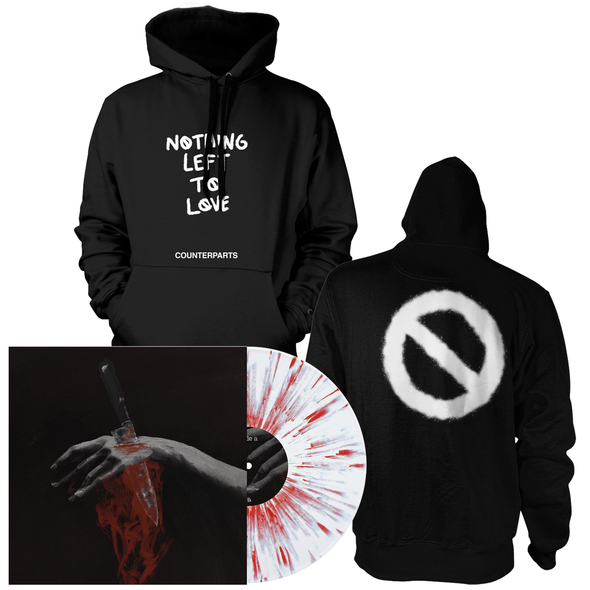 "Nothing Left To Love 12"" Vinyl Hoodie Bundle (White with heavy Blood Red splatter)"